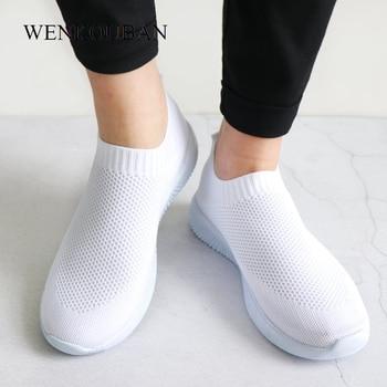 2019 Zapatillas de deporte de mujer Calcetines de moda Zapatos Zapatillas de deporte blancas ocasionales Zapatos vulcanizados de punto de verano Zapatillas de mujer Tenis Feminino 2019 1