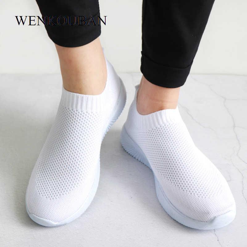 2019 kobiet Sneakers moda skarpetki buty na co dzień białe trampki letnie z dzianiny buty wulkanizowane damskie trenerzy Tenis Feminino 2019