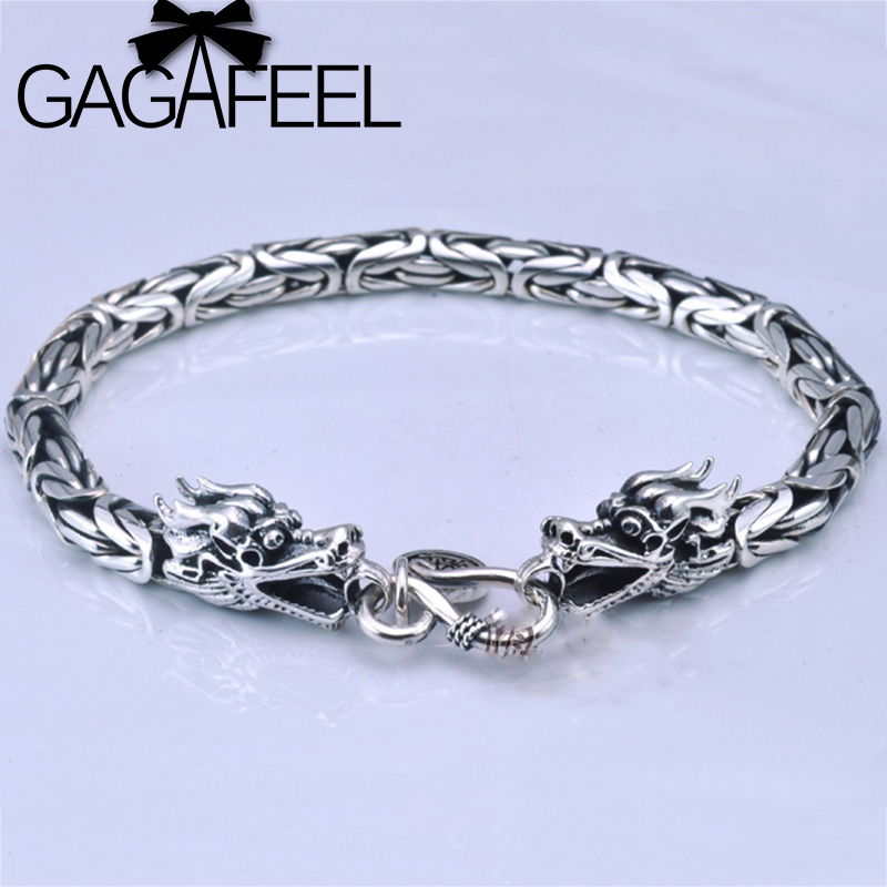 GAGAFEEL Real 925 Sterling Silver Thick Bracelet Bangle for Women and Men Double Dragon Head Punk Bracelets Gift for Boyfriend mens bracelets braclet men boyfriend gift silver 925 10mm