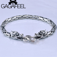 GAGAFEEL Real 925 Sterling Silver Thick Bracelet Bangle For Women And Men Double Dragon Head Punk