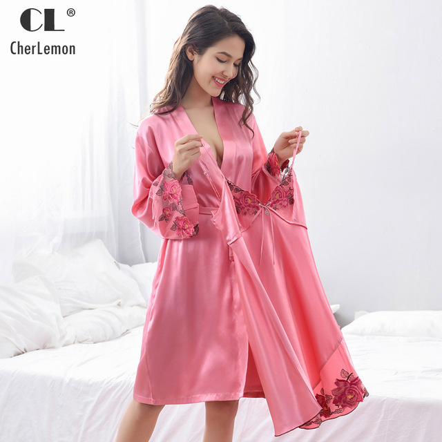 a78e8c140b CherLemon Sexy Satin Robe Gown Set Sleepwear Womens Luxurious Lace Trimmed  Bathrobe and Silky Strip Chemise