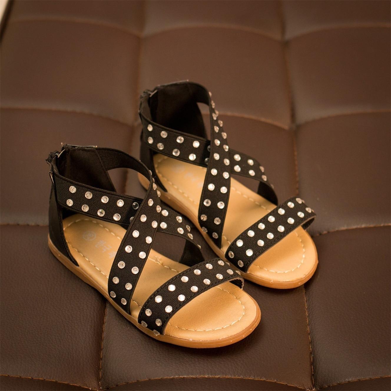 2016 Summer Waterproof Outdoor Children Sandals Girls Soft Leather Flat Heels Rhinestone Baby Boys Kids Shoes Sandal