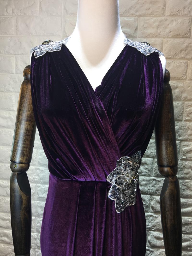 Manches Pourpre Trompette 2017 Robe Sexy Nouvelle Mi Mode Solide Cou V Vêtements Diamants As Sans Pic mollet Femme D'été 0OPNXwZ8nk