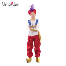Umorden Fantasia Kids Children Halloween Aladdin Costume Boys Arab Prince Cosplay Carnival Purim Party Dress Up