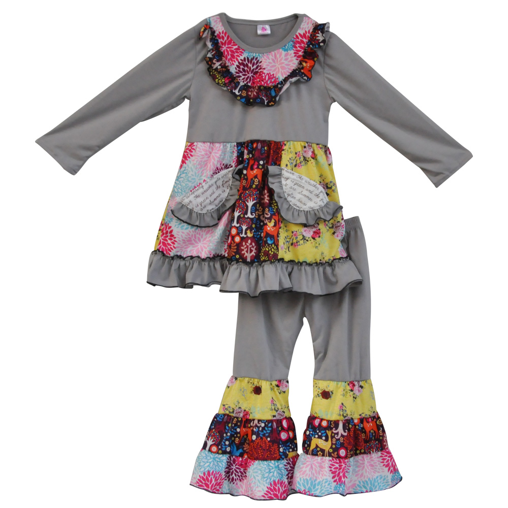 Winter kids clothes grey floral girls clothing sets pocket dress and ruffle pants sets baby Mla winter style fashion set