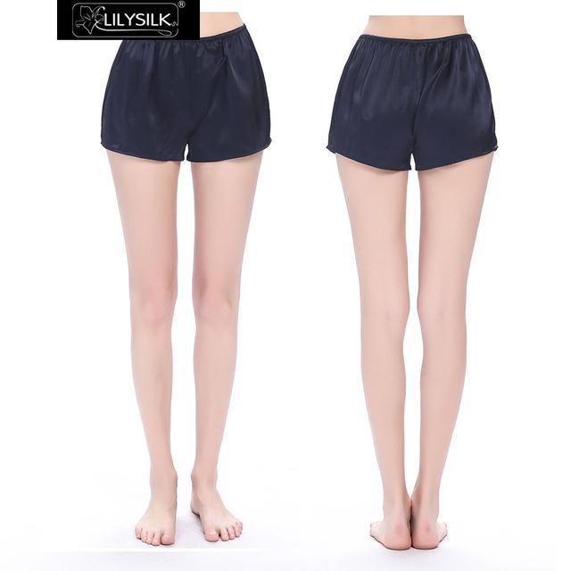 Lilysilk Mujeres Pantalones Cortos Para Dormir de Satén de Seda Azul Marino Satinado Chino 22 Momme Realmente Simple Mini Pantalones de Verano Ropa Femenina 2016