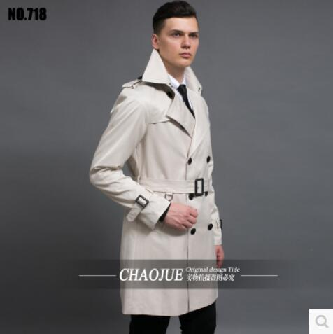 S-6XL ! 2017 Europe America Men's male slim trench coat fashion British style medium-long casual plus size overcoat outerwear