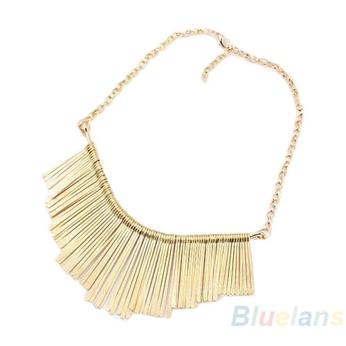 2015 New Fashion Gold Metal Multilayer Chain Tassel Tassels Bib False Collar Choker Necklace Women 1GHQ