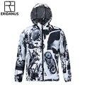 Тонкий Дышащий Мягкая С Капюшоном Ветровка Куртка Европейской и Американской Моды Напечатаны 3D быстросохнущие Куртки M376