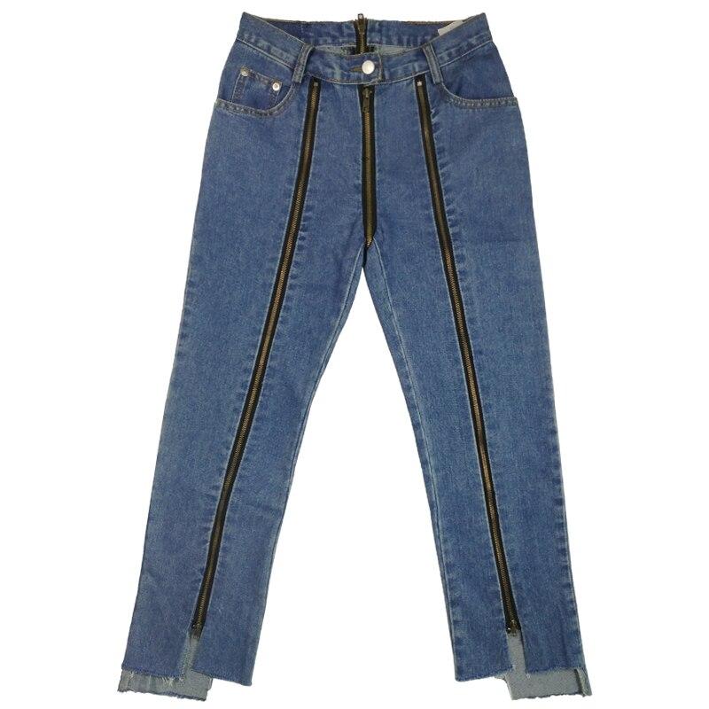 women side back zipper jeans ladies spring cotton dark blue solid straight denim ankle length pants