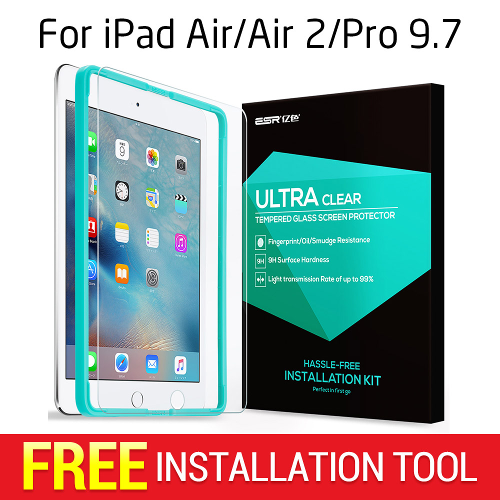 Screen Protector per iPad 2017/Air/Air 2/9.7 Pro, ESR Triple Resistenza Vetro Temperato Pellicola con Trasporto Applicatore per il Nuovo iPad 2018