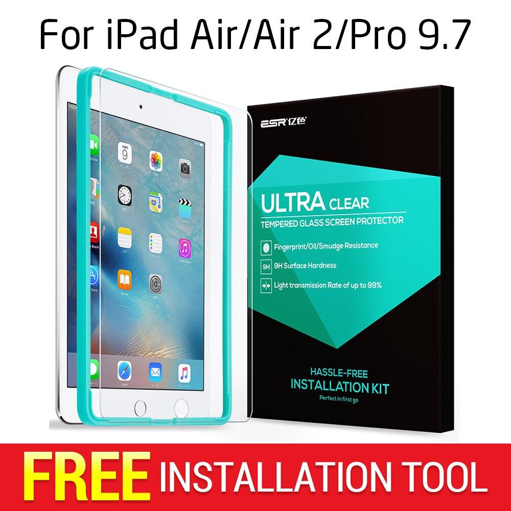Screen Protector per iPad 2017/Air/Air 2/9.7 Pro, ESR Triple Resistenza Vetro Temperato Pellicola con Trasporto Applicatore per il Nuovo iPad 2018