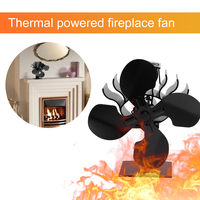 Silent Operation Black 4 Blade Fireplace Heat Powered Stove Fan Log Wood Burner Fan Home Efficient Heat Distribution