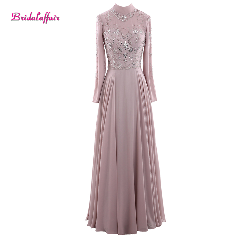 Muslim Evening Beading Long   Prom     Dresses   2019 Long Sleeve Party Gown Beads Chiffon Lace Crystal Evening Gown Vestido de festa