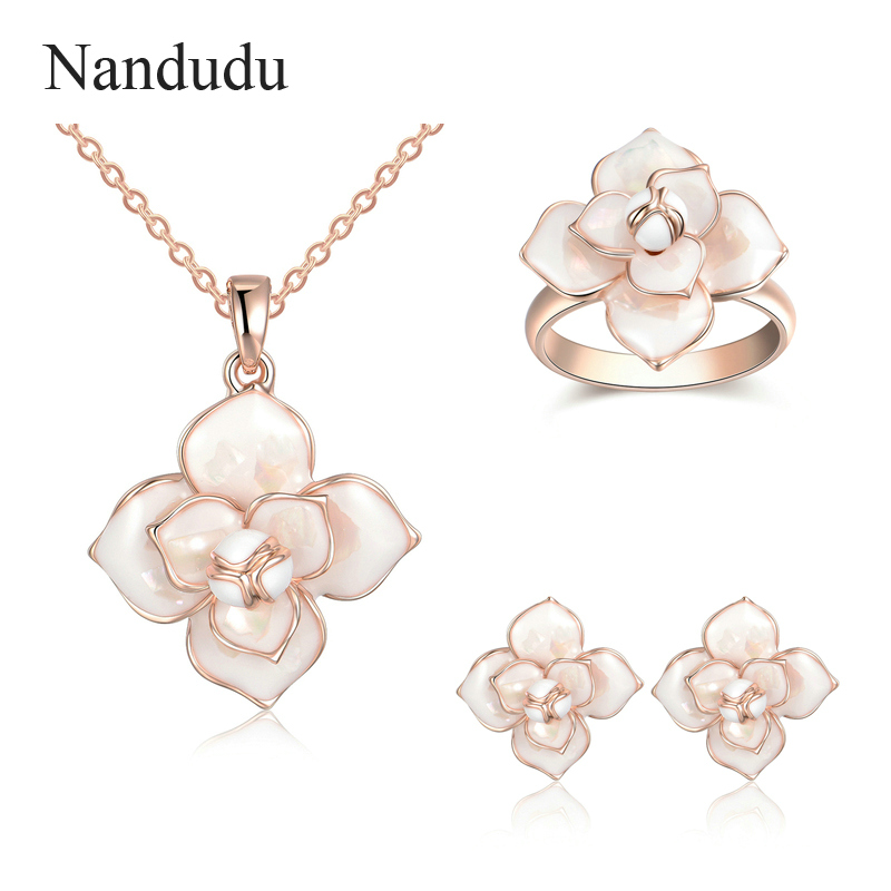 Nandudu Chic Fashion Flower Pendant Necklace Ring Earrings Jewelry Sets for Girl Lady Women Wedding Engagement Accessories цена