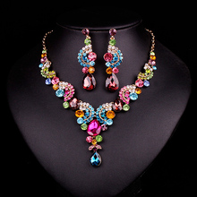 Style Sapphire Rhinestone Bridal Jewellery Set Marriage ceremony Promenade Celebration Equipment Gold Plated Necklace Earring Set For Brides Ladies