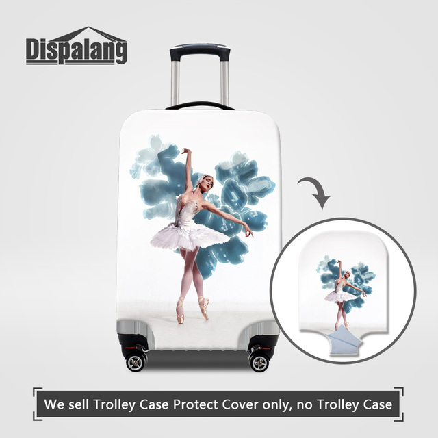 Dispalang rain luggage cover apply to 18-32 inch trolley suitcase cute ballet girl printing elastic anti-dust trunk case covers