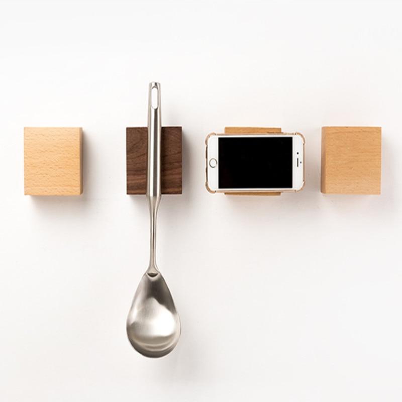 Creative 6 Shaped Wood Key Hanger Wall Hook Wooden Hooks Key Magnetic For Fridge Magnetic Key Wall Holder Door Hook