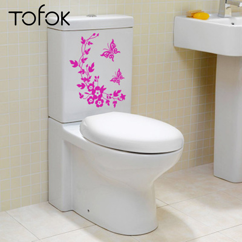 Tofok Chinoiserie Funny Novelty Butterfly And Flower Toilet Decal Fashion 3D Wall Stikcers On The Wall Home Decoration