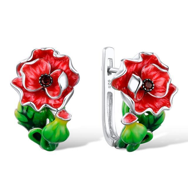 Boucles d'oreilles fleur rouge des îles