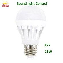 OOBEST Sound light Control Led Bulb Lights led lamp Voice Activated Intelligent LED Sensor Lamp Warm White 15W E27 220V Durable
