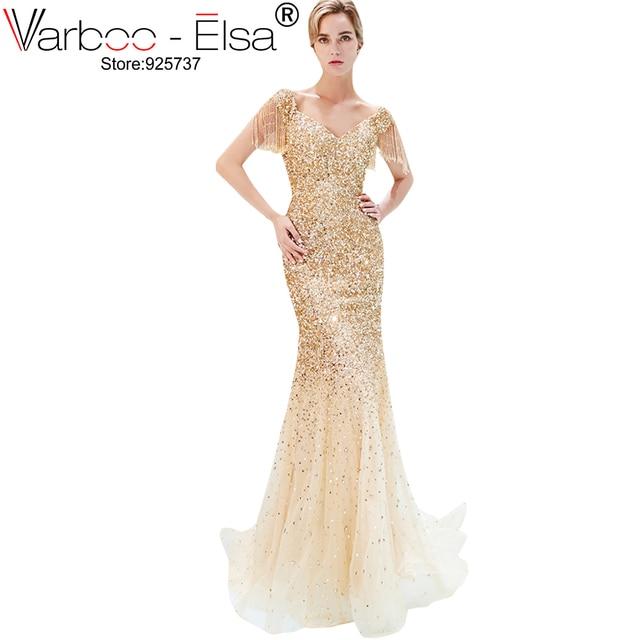 ee671c935b VARBOO ELSA lujo oro borla tul sirena vestido de noche cuello en v elegante  vino rojo vestidos de noche 2018 foto Real