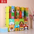 16 cubes Children's Cartoon Wardrobe Closet Storage Cabinet Clothing Kids Closet Organizer storage organizers 147*37*147CM