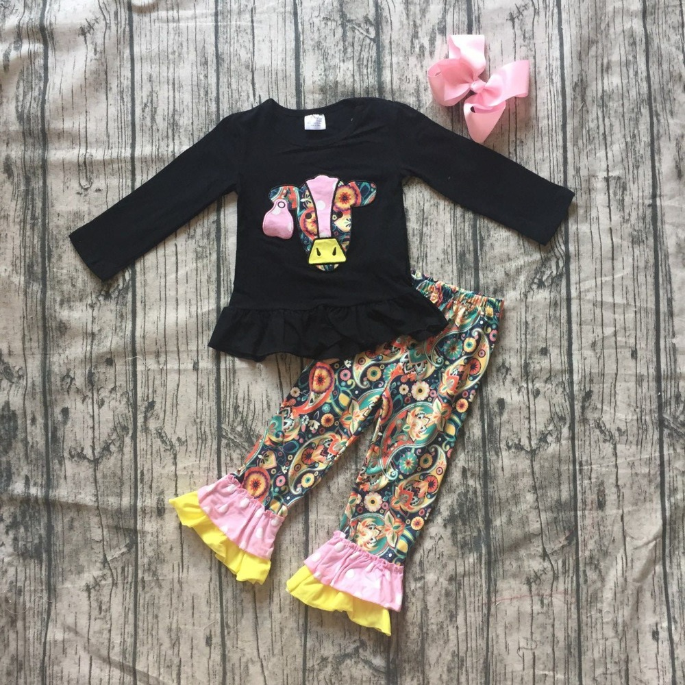 baby Girls Fall clothes girls children tiny teenager print top with purple pants outfits kids purple top outfits with bows