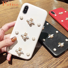 Luxury Leather soft phone case for iphone 7 3D fashion diamond Bee Pearl classic cover iphone6 6s 8 plus X XR XS Max