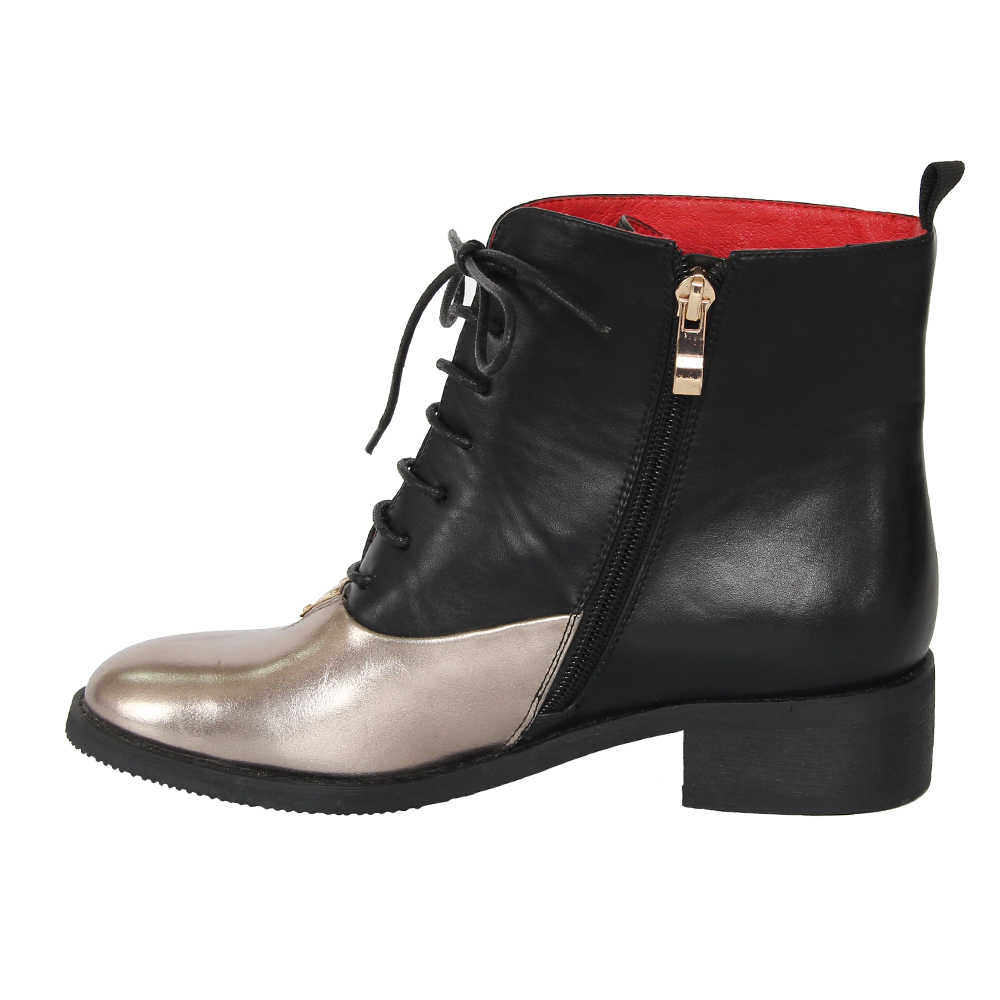XAXBXC 2018 Retro Britse Winter PU Leer Stiksels Lace-Up Korte Enkellaarsjes Warm Vrouwen Laarzen Handgemaakte Casual Lady schoenen