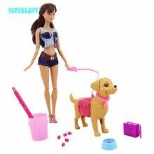 Plastic Dog Pet Sets Bowl Feeding Bone Outside 1:6 Dollhouse Greedy Accessories Puppet Toy
