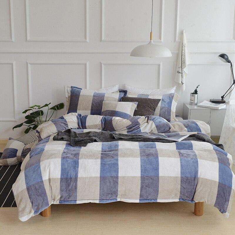 Euclidean Grey Blue Plaid Velvet Mink Velvet Bedding Set Duvet Cover Set soft 4 Pcs Bed Sheet