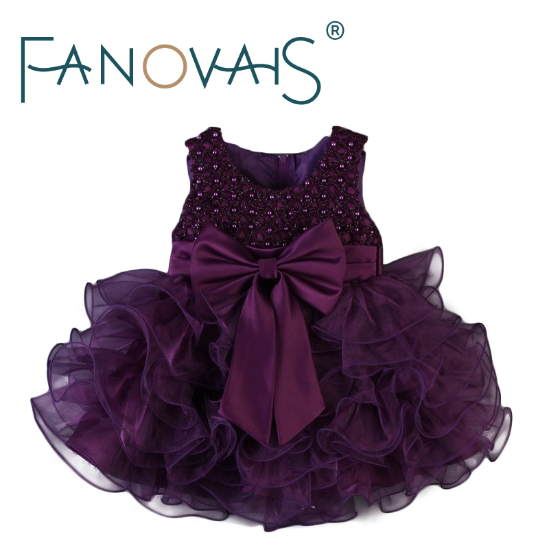 Lovely Scoop Neck Pearls Beading Tiered Ruffles Purple   Flower     Girl     Dresses   Custom Made Zipper Back   Girls     Dress   with Bow Sash