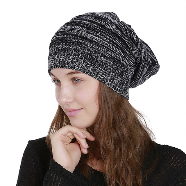 2018 New Knit Beanie Women Hip Hop Hat Winter Cap Knitted Hats for Ladies  Black Red Blue Grey Yellow Beanies Skullies adf546ecc5d