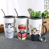 Cute Creative Cat Kitty Glass Mug Cup Tea Cup Milk Coffee Cup Music/Dots/English Words Home Office Cup spoon and cover 600ml