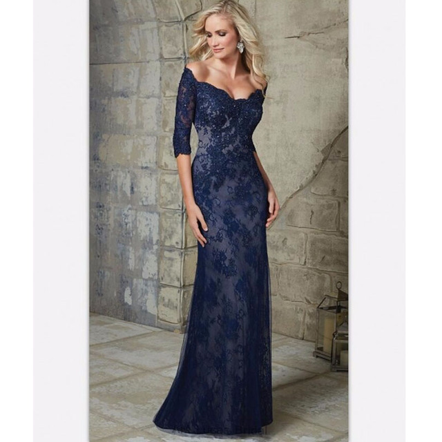 New style 2017 Hot Sale Wide-Waisted Tank Purple Lace Knitted Full Sleeves Floor Length Mother of the Bride Dresses Fashion New