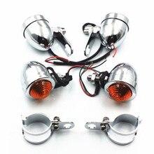 4X אופנוע קדמי אחורי Bullet Chrome הפעל אות אור מזלג מלחציים הלם סוגר ופר סיור קרוזר Bobber