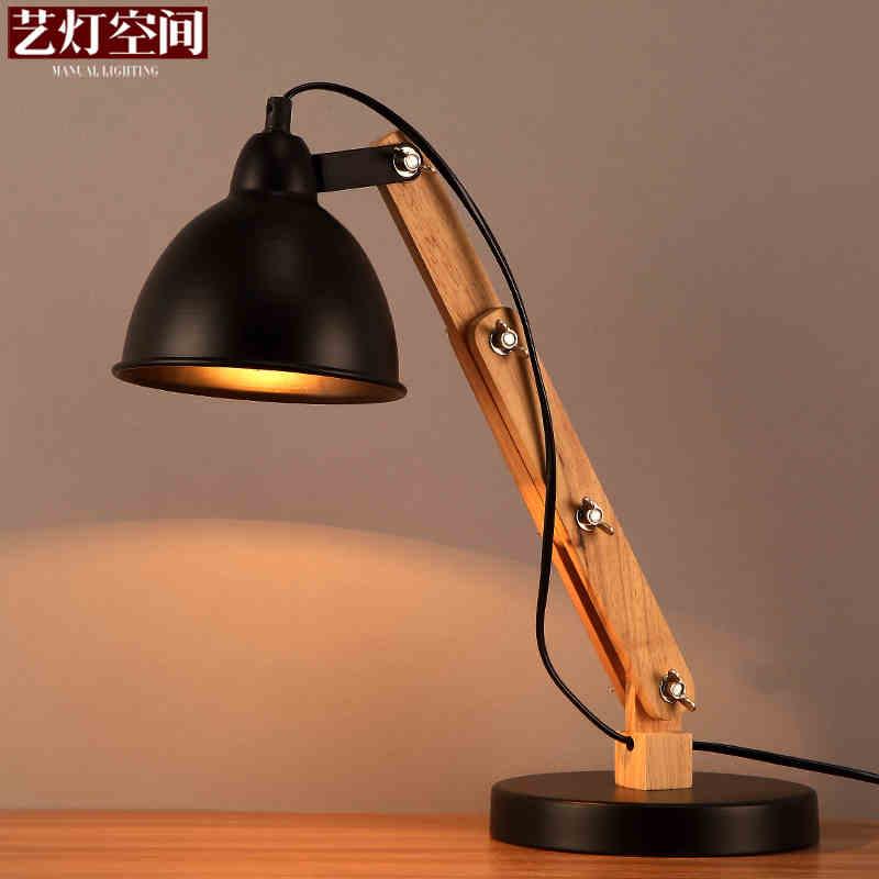 Nordeuropa Loft Stil Schmiedeeisen Drehbare Tisch Lampe Holz Kunst Falten Nacht Licht Schlafzimmer Studie Tisch Licht Freies Verschiffen