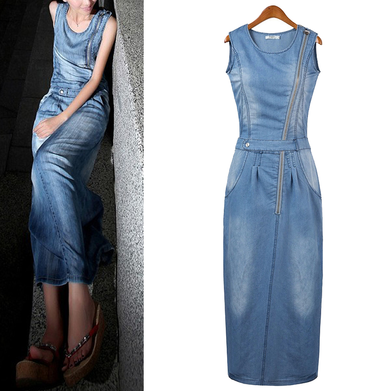Buy Cheap Summer Dress 2015 Women Casual Dress Cool Denim Jean Tropical Bodycon Casual Work Style Women Maxi Vestidos Long Dresses H6376