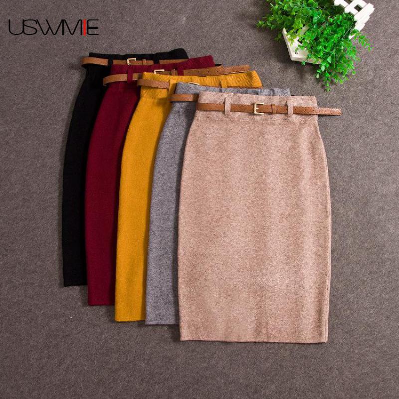 USWMIE Autumn Winter Casual Women High Waist Knee-length Knitted Pencil Skirt Elegant Slim Long Skirts High Quality Skirts Split
