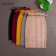 USWMIE jesienno zimowa Casual kobiety wysokiej talii do kolan dzianiny spódnica ołówkowa eleganckie wąskie długie spódnice wysokiej jakości spódnice Split