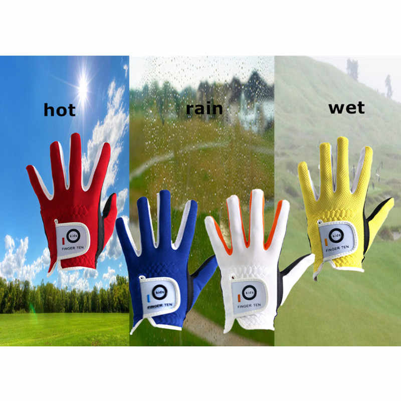 Sol el sağ Golf eldivenleri çocuklar yağmur kavrama sıcak ıslak nefes yumuşak genç çocuk Lh Rh S M L dayanıklı 2 paket Set yaş 2-10 yıl