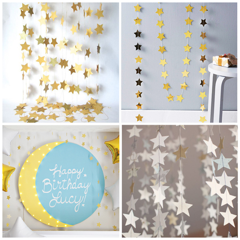 4 Meters Gold Silver Bead Light Cardboard Stars Hanging Ornaments Garland Wedding Party Holiday Celebrations Layout