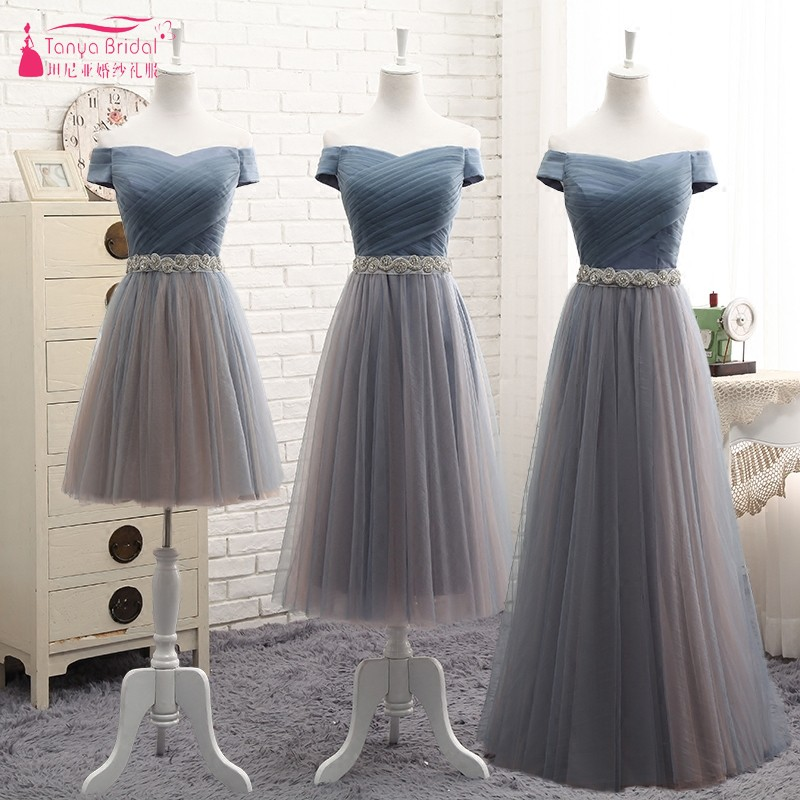 A Line Short Sleeves Long   Bridesmaid     Dresses   With Crystal Belt Cheap vestido longo Wedding Guest   Dress   party Gown DQG439