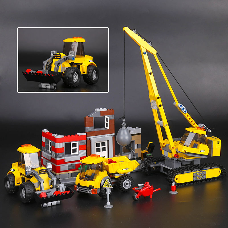 Lepin 02042 869pcs City Series Building Demolition Site Set Educational Building Blocks Bricks Toys for Children Christmas Gift lepin 02012 774pcs city series deepwater exploration vessel children educational building blocks bricks toys model gift 60095