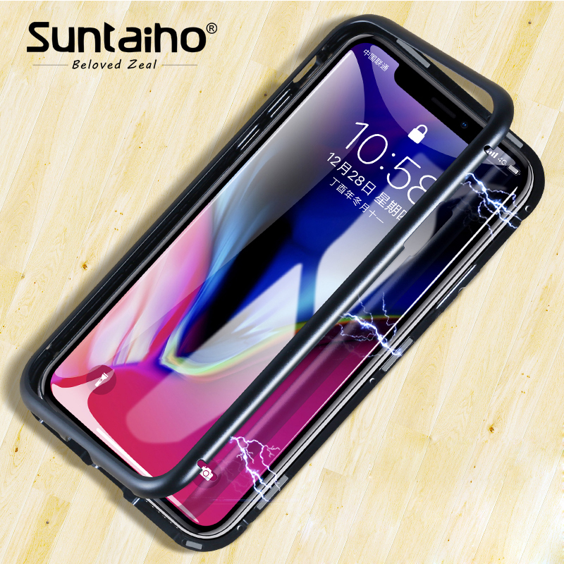 Suntaiho magnetic adsorption Phone case for iPhone X for iPhone 8 case Magnetic Tempered Glass back Phone Case for iPhone 7 case