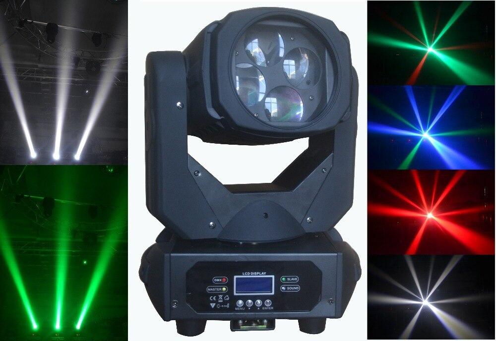 Försäljning 2stk / parti 2019 Nyaste 4x25W färgrik 130W LED Super Beam Moving Head Light för Disco Nightclub DJ Bar Party-scenlampor