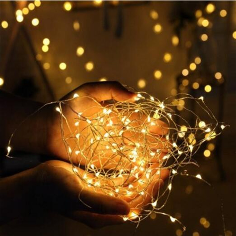 10pcs 1M 10 LED Starry Copper Wire String Lights Fairy Light Christmas Wedding Decoration CR2032 Battery Operate Twinkle Lights