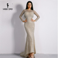 Missord 2017 Sexy O Neck Long Sleeve Fishing Nets Glitter Women Slim Maxi Dress FT8561