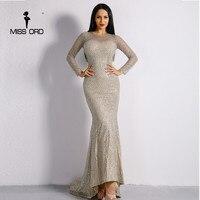 Missord 2017 Sexy O Neck Long Sleeve Fishing Nets Glitter Women Slim Maxi Dress FT8561